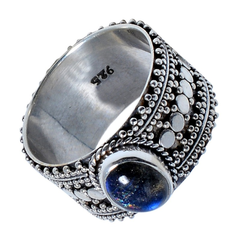 Oval Cabochon Labradorite Gemstone Handmade 925 Sterling Silver Black Oxidized Ring Jewelry