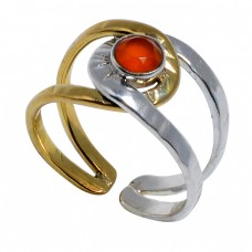 Round Shape Carnelian Gemstone 925 Sterling Silver Gold Plated Designer Ring