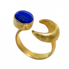 Round Shape Blue Sapphire Gemstone 925 Sterling Silver Gold Plated Ring Jewelry
