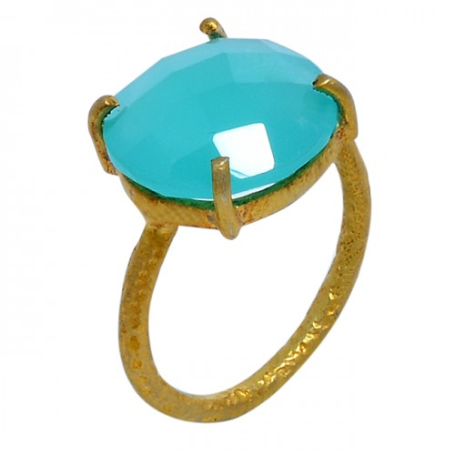 925 Sterling Silver Square Shape Chalcedony Gemstone Gold Plated Ring Jewelry