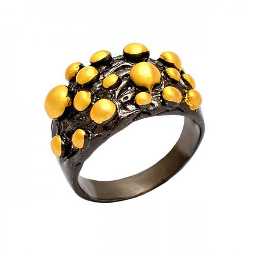 925 Sterling Silver Plain Handmade Designer Black Rhodium Ring Jewelry
