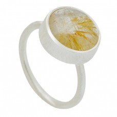 Golden Rutile Quartz Oval Shape Gemstone 925 Sterling Silver Ring Jewellery