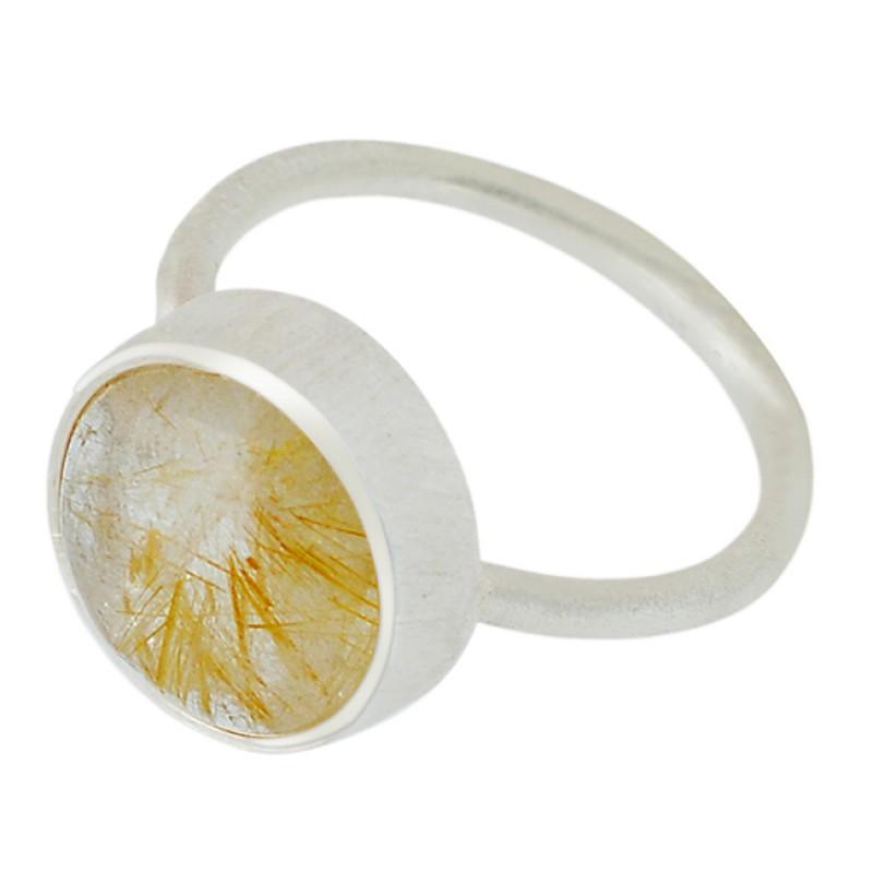 Golden Rutile Quartz Oval Shape Gemstone 925 Sterling Silver Ring Jewellery