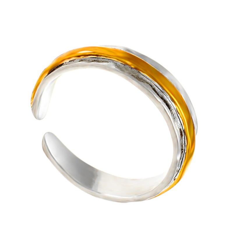 Plain Adjustable 925 Sterling Silver Gold Plated Handcrafted Ring Jewellery