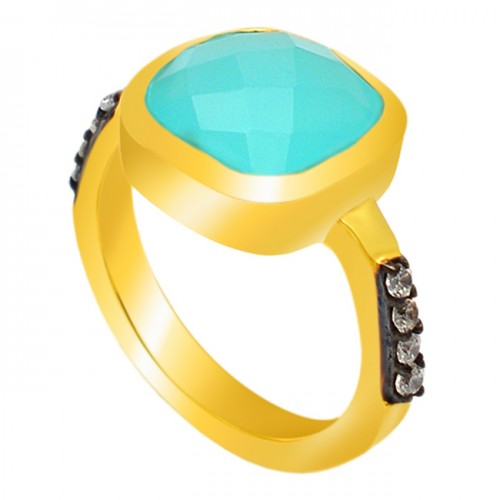 Aqua Chalcedony Cubic Zirconia Gemstone 925 Sterling Silver Gold Plated Ring Jewellery