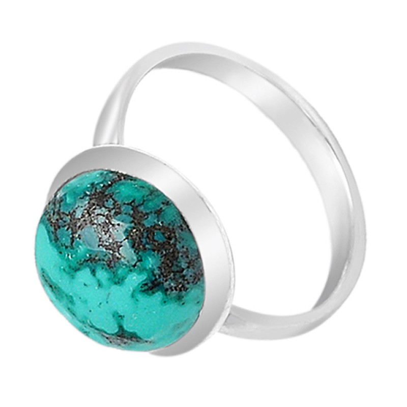 Round Cabochon Blue Turquoise Gemstone 925 Sterling Silver Ring Jewelry