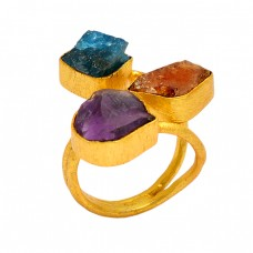 Raw Material Apatite Citrine Amethyst Rough Gemstone 925 Sterling Silver Gold Plated Ring Jewelry