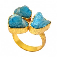 925 Sterling Silver Apatite Rough Gemstone Gold Plated Handmade Ring Jewelry