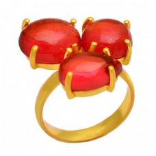 Cabochon Cut Red Onyx Gemstone Prong Setting Handmade 925 Sterling Silver Gold Plated Ring
