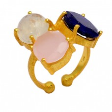 Lapis Lazuli Chalcedony Moonstone 925 Sterling Silver Gold Plated Ring Jewelry