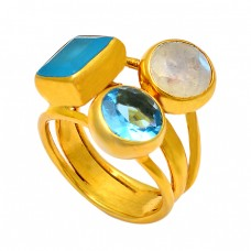 Handmade Design Rainbow Moonstone Blue Topaz Chalcedony Gemstone 925 Sterling Silver Gold Plated Ring