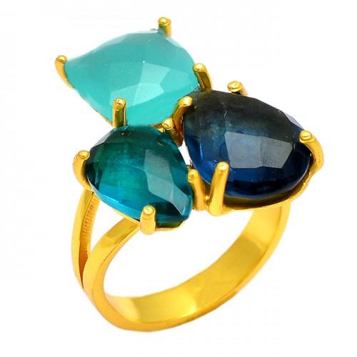 925 sterling silver gold plated Aqua Chalcedony Labradorite Apatite quartz gemstone ring