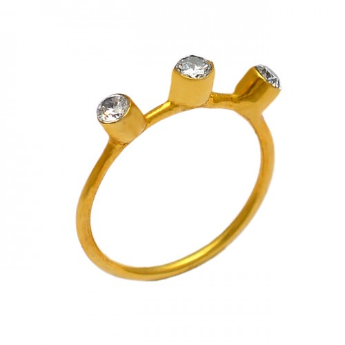 925 Sterling Silver Round Shape Cubic Zirconia Gemstone Gold Plated Ring Jewerly