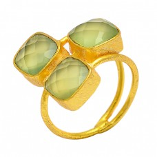 Square Shape Prehnite Chalcedony Gemstone 925 Sterling Silver Gold Plated Ring
