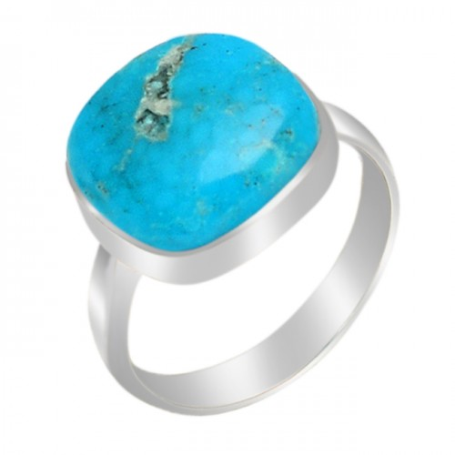 Cushion Cabochon Turquoise Gemstone 925 Sterling Silver Handmade Ring Jewelry