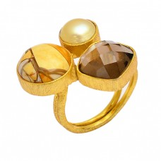 Pearl Smoky Quartz Brecciated Mookaite Gemstone 925 Silver Gold Plated Ring