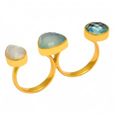 925 Sterling Silver Topaz Moonstone Chalcedony Handmade Gold Plated Ring