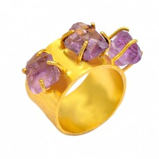925 Sterling Silver Amethyst Rough Gemstone Gold Plated Prong Setting Ring