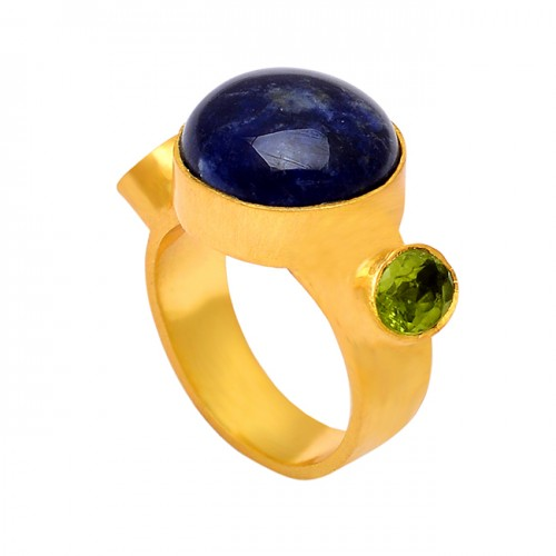Peridot Blue Sapphire Gemstone 925 Sterling Silver Gold Plated Designer Ring