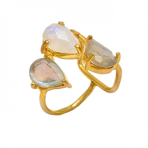 Prong Setting Pear Shape Rainbow Moonstone 925 Sterling Silver Gold Plated Ring