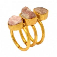 Rhodochrosite Rough Gemstone 925 Sterling Silver Gold Plated Designer Ring