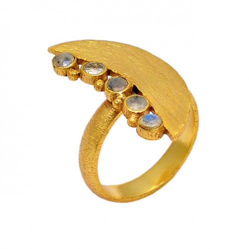 925 Sterling Silver Facted Round Shape Rainbow Moonstone Gold Plated Ring