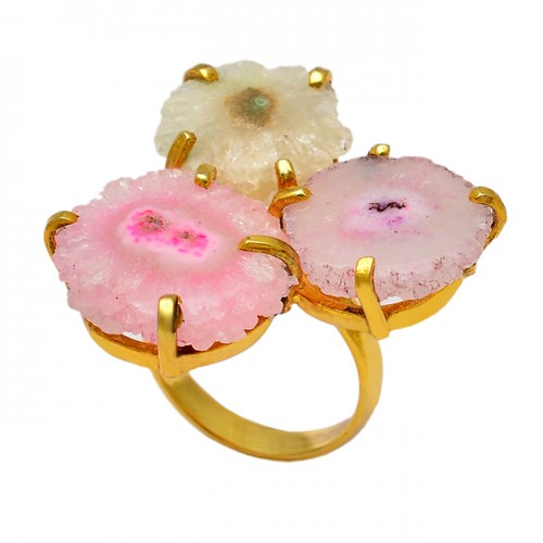 Round Shape Slice Rough Gemstone 925 Sterling Silver Gold Plated Ring Jewelry