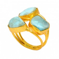 Uneven Shape Larimar Gemstone 925 Sterling Silver Gold Plated Ring Jewelry