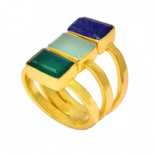 Rectangle Shape Lapis Chalcedony Green Onyx Gemstone Gold Plated Ring