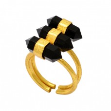 Step Cut Pencil Shape Black Onyx Gemstone 925 Sterling Silver Gold Plated Ring
