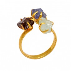 Garnet Tanzanite Aquamarine Rough Gemstone 925 Silver Gold Plated Ring