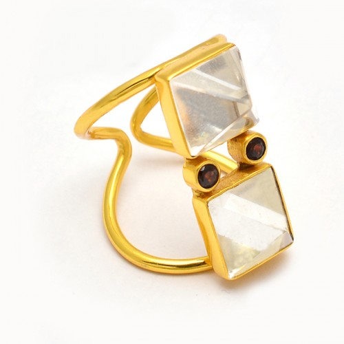 Crystal Smoky Quartz Gemstone 925 Sterling Silver Gold Plated Stylish Ring