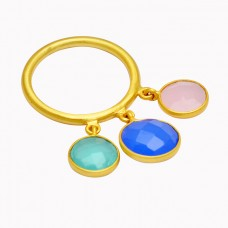 Briolette Round Shape Chalcedony Gemstone 925 Sterling Silver Gold Plated Ring