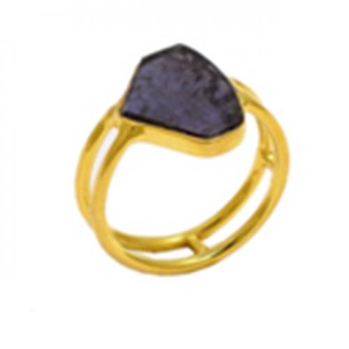 Fancy Shape Amethyst Gemstone 925 Sterling Silver Gold Plated Designer Ring