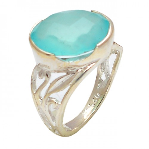 Oval Shape Aqua Color Chalcedony Gemstone 925 Sterling Silver Rings Jewelry