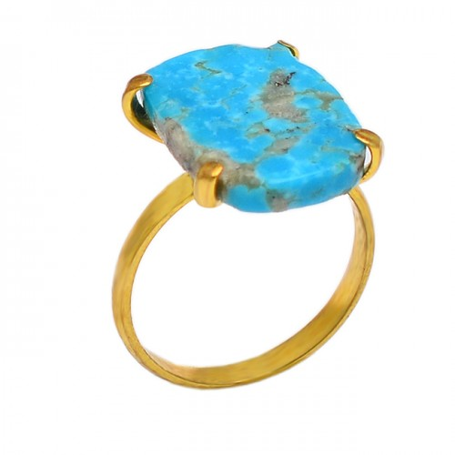 Rectangle Shape Turquoise Gemstone 925 Sterling Silver Gold Plated Designer Ring