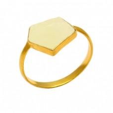 Fancy Shape Prehnite Quartz Gemstone 925 Sterling Silver Gold Plated Ring