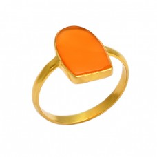 Fancy Shape Carnelian Gemstone 925 Sterling Silver Gold Plated Handmade Ring