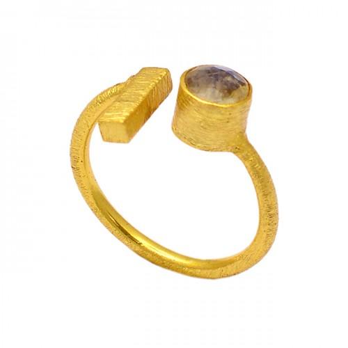 Round Shape Citrine Gemstone 925 Sterling Silver Gold Plated Designer Ring