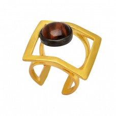 Round Shape Tiger Eye Gemstone 925 Sterling Silver Gold Plated Designer Ring