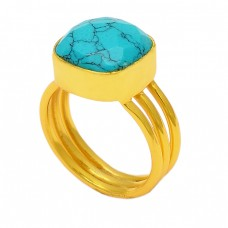 Square Shape Turquoise Gemstone 925 Sterling Silver Gold Plated Designer Ring