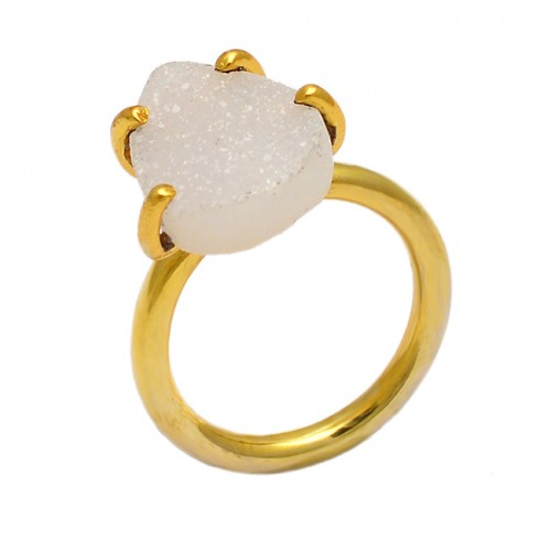Pear Shape White Druzy Gemstone 925 Sterling Silver Gold Plated Ring Jewelry