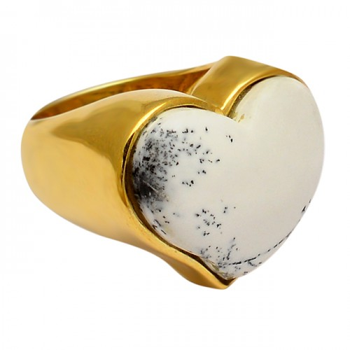 Cabochon Heart Shape Dendrite Opal Gemstone 925 Silver Gold Plated Ring Jewelry