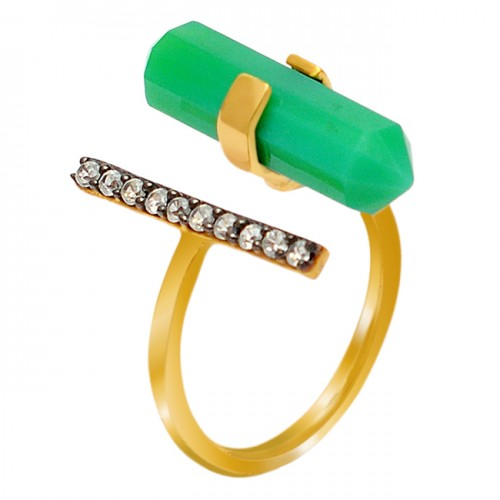 Pave CZ Pencil Shape Prehnite Chalcedony Gemstone Handmade 925 Sterling Silver Gold Plated Ring