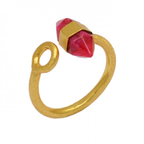 Pencil Shape Ruby Gemstone 925 Sterling Silver Gold Plated Handmade Ring