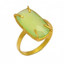 Rectangle Shape Prehnite Chalcedony Gemstone 925 Sterling Silver Gold Plated Ring
