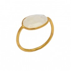 925 Sterling Silver Oval Shape Rainbow Moonstone Gold Plated Handmade Ring