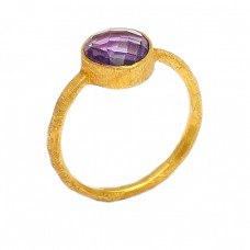 Briolette Round Shape Amethyst Gemstone 925 Sterling Silver Gold Plated Ring