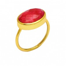 Faceted Oval Shape Ruby Gemstone 925 Sterling Silver Gold Plated Handmade Ring