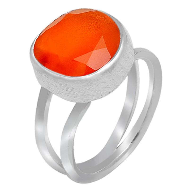 Round Shape Orange Carnelian Gemstone Handcrafted 925 Sterling Silver Ring Jewellery